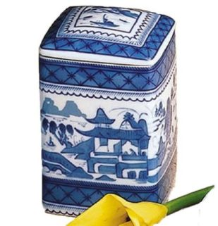 Mottahedeh Blue Canton Square Box And Cover