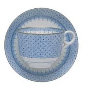 Mottahedeh Cornflower Blue Lace Lace Tea Cup And Saucer