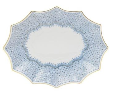 Mottahedeh Cornflower Blue Lace Lg Fluted Tray
