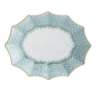 Mottahedeh Green Lace Med Fluted Tray