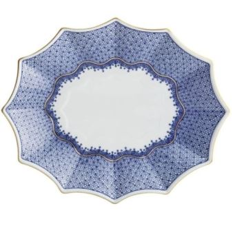 Mottahedeh Blue Lace Large Fluted Tray