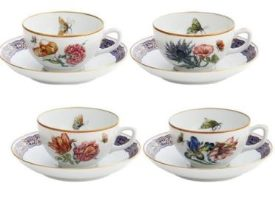 Mottahedeh Merian Tea Cup And Saucer Set Of 4