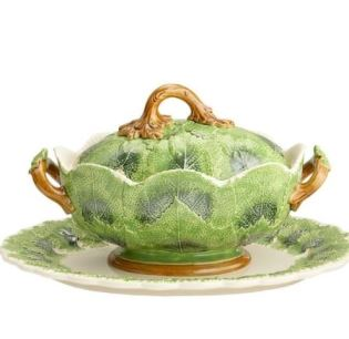 Mottahedeh Grape Leaf Tureen And Stand (Dark Green)