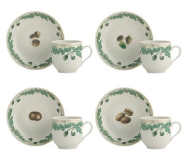 Mottahedeh Nutleaf Tea Cup And Saucer Set Of 4