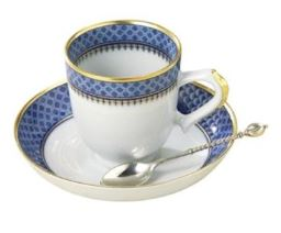 Mottahedeh Indigo Wave Demitasse Cup And Saucer