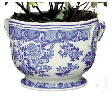 Mottahedeh Blue And White Floral Cachepot