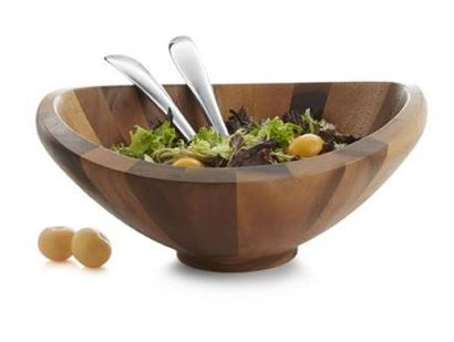 Nambe Butterfly Salad Bowl w/Servers, 16