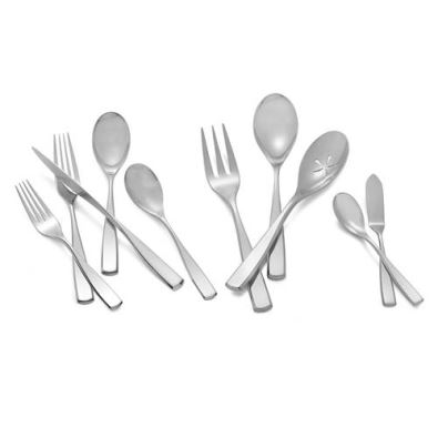 Nambe Anna 45-Piece Set 8/10 Stainless Steel (8-5pc. Place Settings,3pc. Serving Set, Butter Knife, & Sugar Spoon)