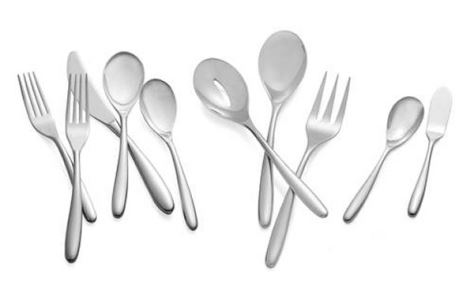 Nambe Bend 45-Piece Set 18/10 Stainless Steel (8-5pc. Place Settings,3pc. Serving Set, Butter Knife, & Sugar Spoon)