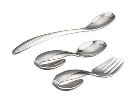 Nambe Baby Namb? Loop Spoon & Fork/Feeding Spoon (3 Pc. Set ) - 18/10 Stainless Steel w/Felt Bag