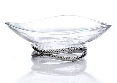Nambe Braid Centerpiece Bowl - Chrome Plate & Glass