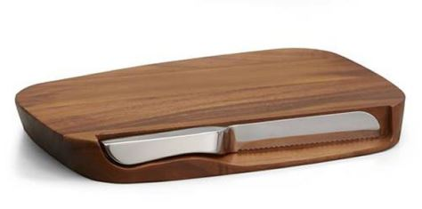 Nambe Blend Bread Board w/ Knife, Wood & Stainless Steel