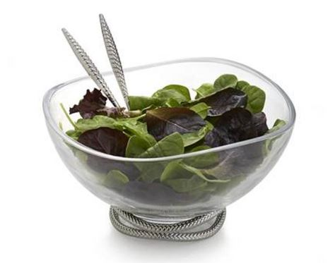 Nambe Braid Glass Salad Bowl w/ Servers  12