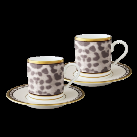Nikko Snow Leopard Espresso Cup and Saucer (Set of 2)