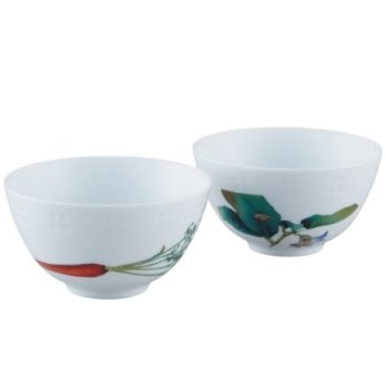 Noritake Kyoka Syunsai Rice Bowl Pair Set,4 1/2 IN