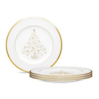 Noritake Palace Christmas Gold Holiday Accent Plate Set/4