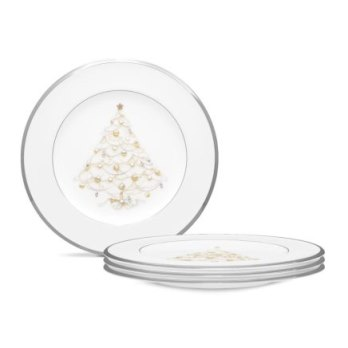 Noritake Palace Christmas Platinum Holiday Accent Plate Set/4