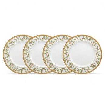 Noritake Rochelle Gold Holiday Accent Plate Set of 4
