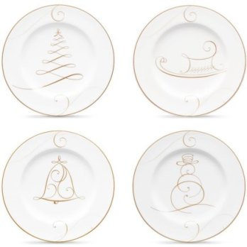 Noritake GOLDEN WAVE SET OF 4 HOLIDAY APPETIZER PLATES