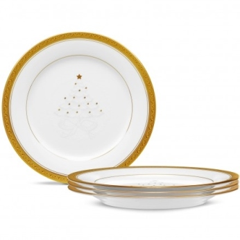 Noritake Crestwood Gold Set/4 9 IN Holiday Accent Plate