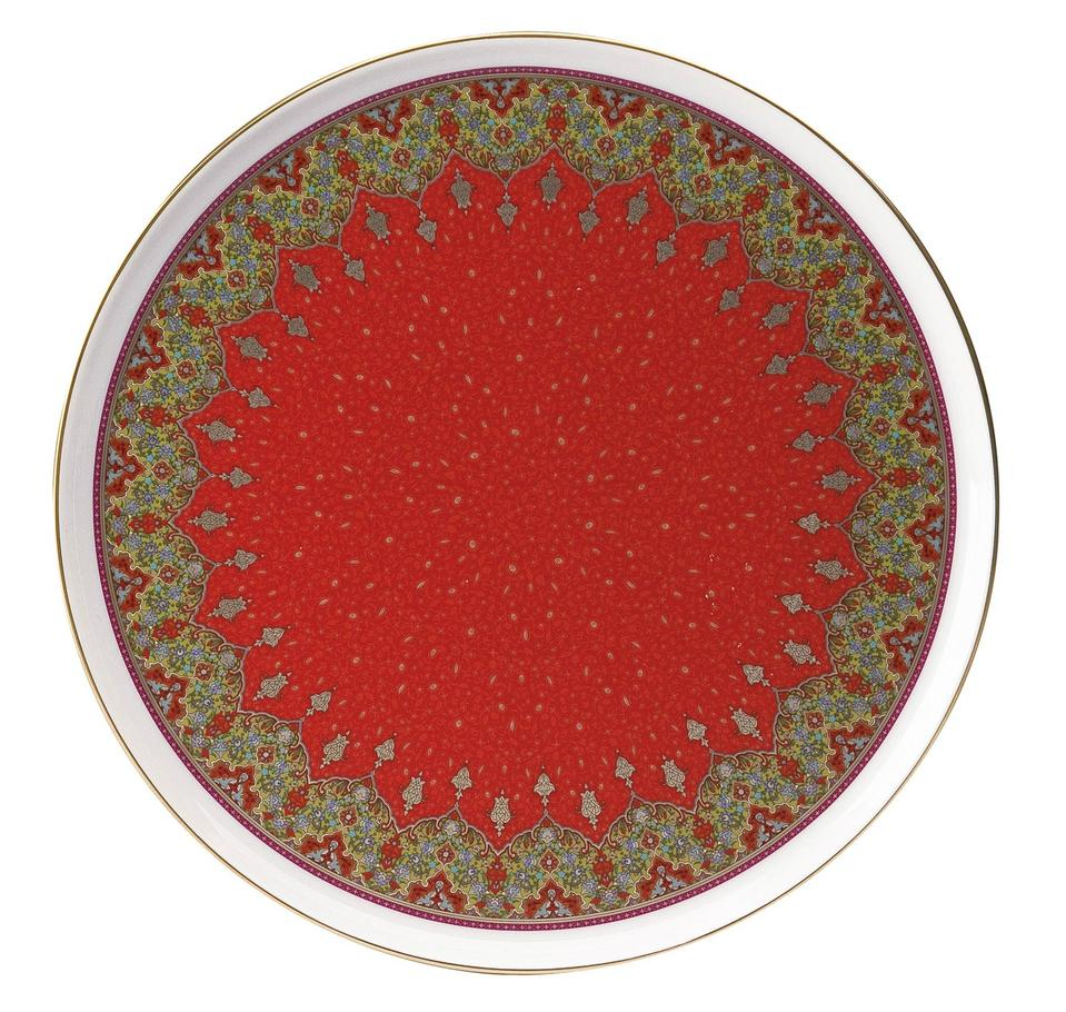 Philippe Deshoulieres Dhara red round cake platter