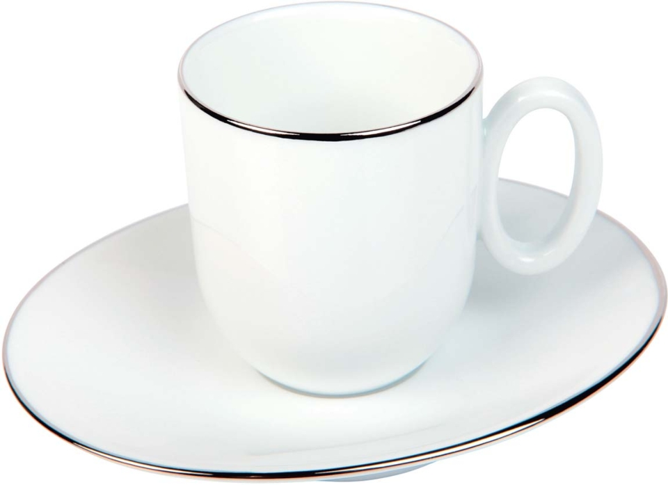 Philippe Deshoulieres Epure platinum filet Moka cup and saucer