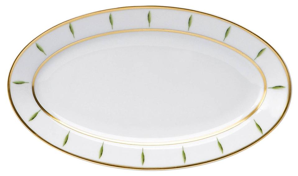 Philippe Deshoulieres Toscane white & green trees border relish dish/sauce boat tray