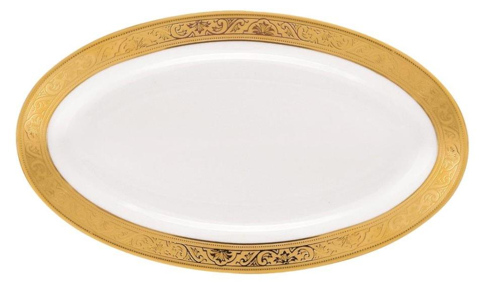 Philippe Deshoulieres Trianon gold relish dish/sauce boat tray