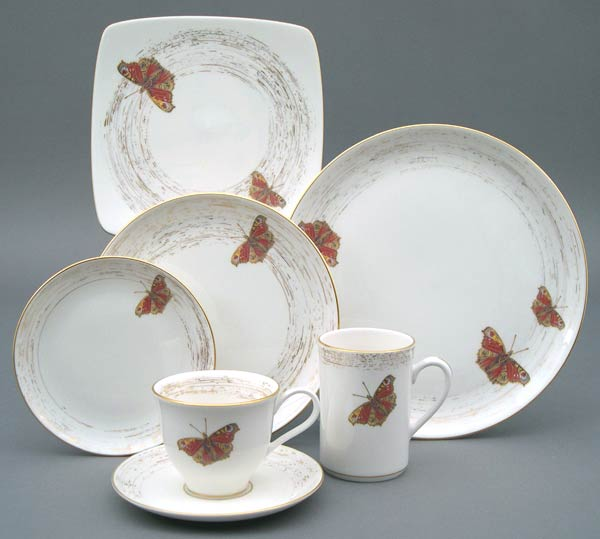 Pickard Wind and Wings Nr 2 - Swallowtail White Butter Plate