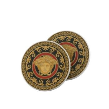 Versace Medusa Red Coasters Porcelain Set Of Two