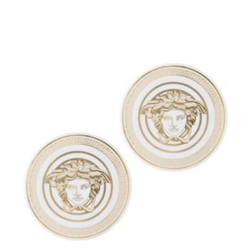 Versace Medusa Gala Coasters Porcelain Set Of Two