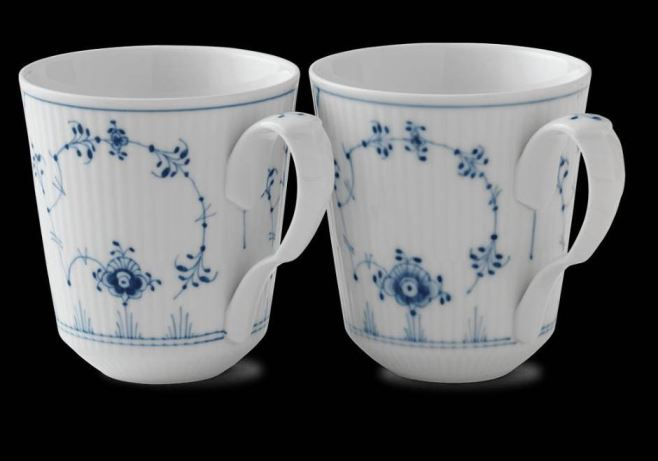 Royal Copenhagen BLUE FLUTED PLAIN MUG, 12.5OZ. SET/2