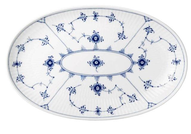 Royal Copenhagen BLUE FLUTED PLAIN OVAL ACCENT DISH 9