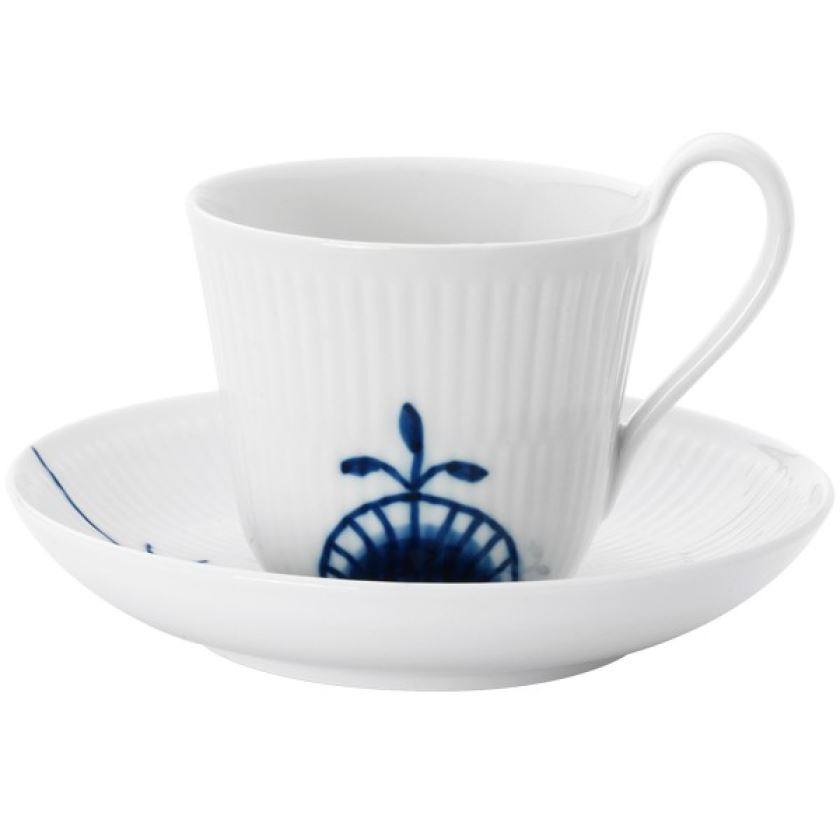 Royal Copenhagen BLUE FLUTED MEGA HIGH HANDLE CUP & SAUCER #2 8.5OZ.