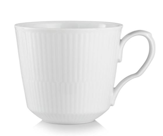 Royal Copenhagen WHITE FLUTED LATTE MUG WITH HANDLE 15.5OZ.