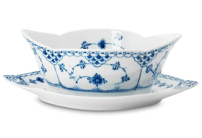 Royal Copenhagen BLUE FLUTED HALF LACE GRAVY BOAT WITH STAND