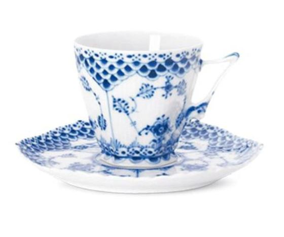Royal Copenhagen BLUE FLUTED FULL LACE COFFEE CUP & SAUCER