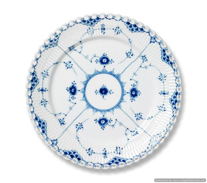 Royal Copenhagen BLUE FLUTED FULL LACE LUNCHEON PLATE 9.75