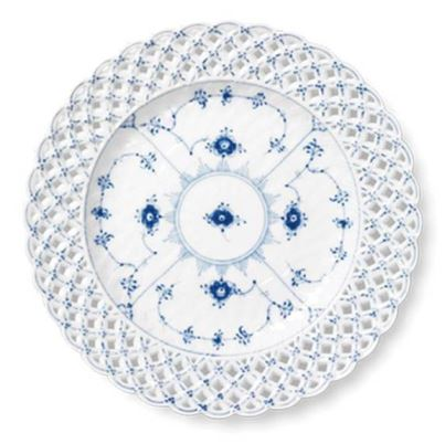 Royal Copenhagen BLUE FLUTED FULL LACE CAKE PLATE 9.75
