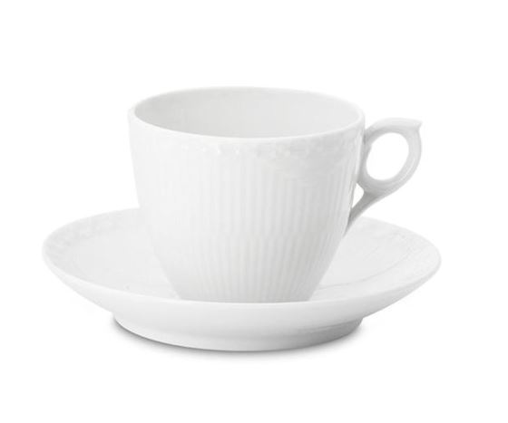 Royal Copenhagen WHITE FLUTED HALF LACE COFFEE CUP & SAUCER