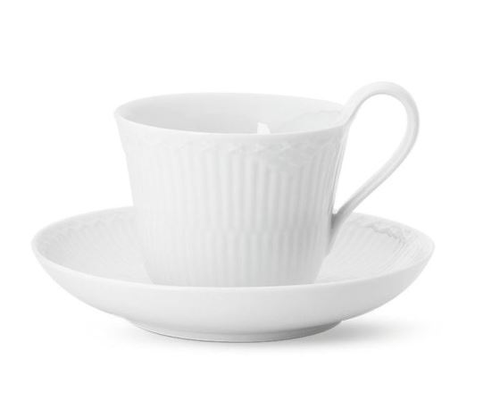 Royal Copenhagen WHITE FLUTED HALF LACE HIGH HANDLE CUP & SAUCER