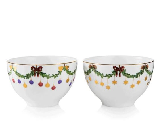 Royal Copenhagen STAR FLUTED CHRISTMAS CHOCOLATE BOWL S/2