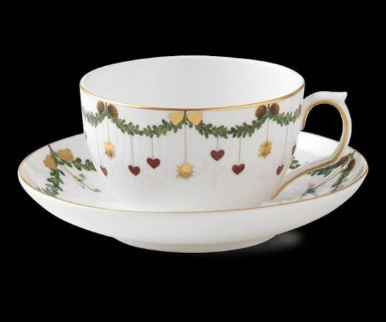 Royal Copenhagen STAR FLUTED CHRISTMAS TEACUP & SAUCER