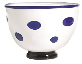 Zafferano Bon Bon Bowl White With Blue Dots - pair