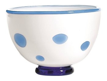 Zafferano Bon Bon Bowl White With Light Blue Aqua Dots  - pair