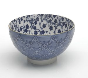 Zafferano Tue Bowl Textured Medium  Blue - set of 6
