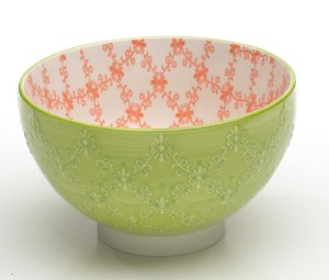 Zafferano Tue Bowl Textured Medium Apple Gren/Orange - set of 6