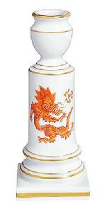 Meissen Ming Dragon Red Candlestick