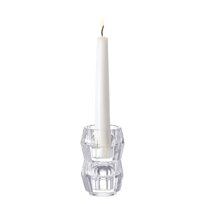 Orrefors Totem Harmony Candlestick (clear, pair),3 1/2 x 2 in.