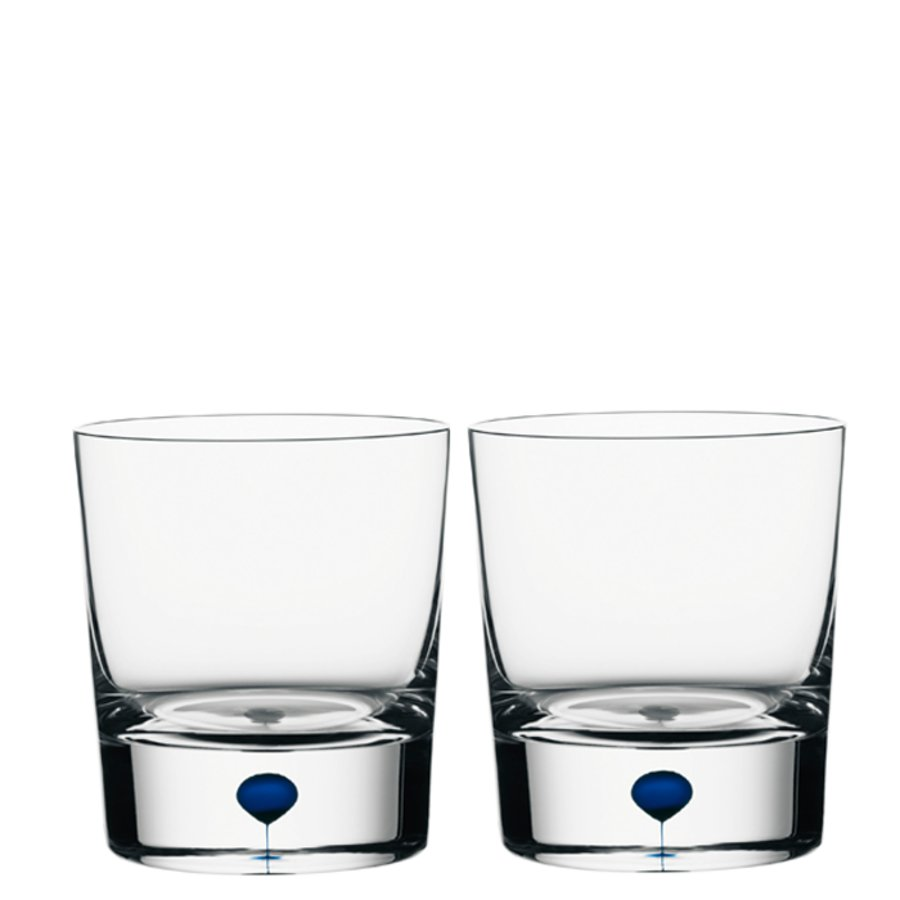 Orrefors Intermezzo Blue Old Fashioned/Whiskey (pair)